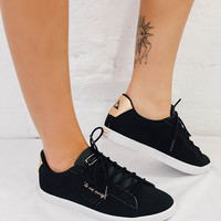 Agate Lo S Nubuck Sneakers - Black/Rose Gold
