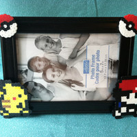 Ash and Pikachu Pokemon Perler Picture Frame (5x7)  Frame