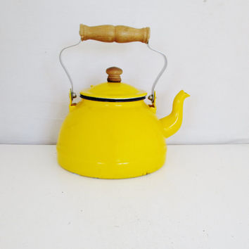 Teapot Mid Century Yellow Enamel Teapot with Wood Handle and Knob Vintage Metal Enamel Teapot Retro Yellow Teapot Gift for her