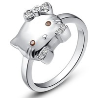 18K White Gold Plated Cute Kitten Cocktail Ring