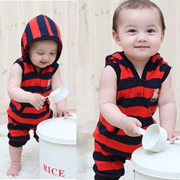 Toddler Baby Boys Kids Stripes Hoody Clothes One-pieces Rompers Playsuits = 1932179652