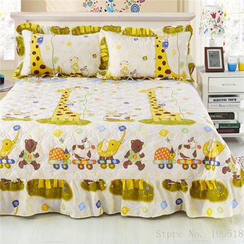 Zoo Animals Ruffled Luxury Quilted Bedspread