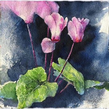 Purple cyclamen watercolor - original purple flower painting on dark background paper
