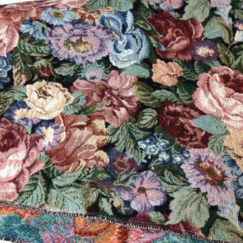 Vintage Upholstery Fabric Remnant, Cabbage Rose Pattern.