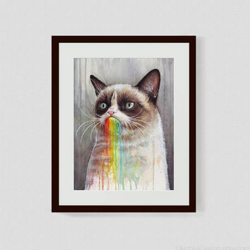 13x19 Art Print, Watercolor Painting, Grumpy Cat, Animal, Rainbow, Giclee