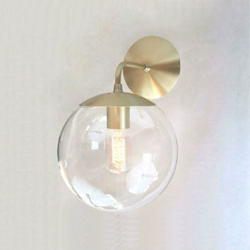 Mid Century Modern Wall Sconce 8 Clear Glass Globe