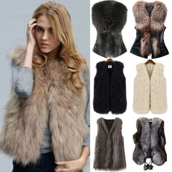 Women's Faux Fur Sleeveless Coat Warm Jacket Vest Gilet Tops Outwear Waistcoat