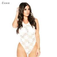 2018 Summer White Sleeveless Lace Bodysuit Tops Women Sexy Sheer Mesh Thong Bodysuit Floral Bodycon Body Suit Leotard Top Outfit
