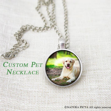 Custom photo pet necklace-dog photo pendant-pet portrait necklace-custom jewelry-Christmas gift-memorial pet necklace-by NATURAPICTA-NPNK052