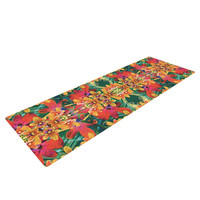 "Dawid Roc ""Tropical Floral"" Orange Pink Yoga Mat"