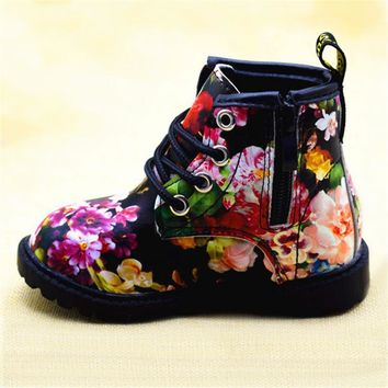 Cute Girls Boots 2017 New Fashion Elegant Floral Flower Print Kids Shoes Baby Martin B
