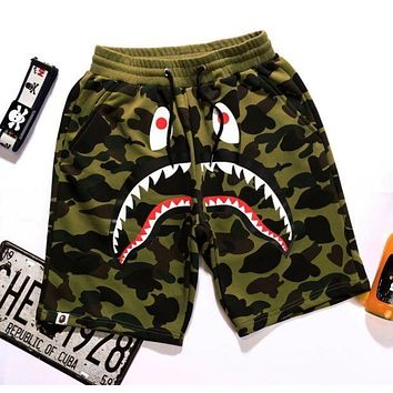 Bape men and women couple street hip hop camouflage shark print shorts F/A green