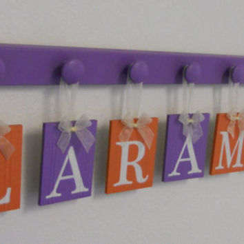 Purple Orange Decorations Baby Girl Room Wall Letter Set for LARMIE - 7 Wooden Pegs  Lilac