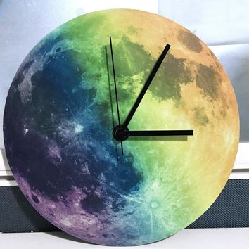 New Luminous Moonlight Wall Clock 3D Watch Moon Glow In The Dark Clock