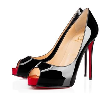 Christian Louboutin Cl New Very Prive Black/red Patent Leather Platforms 1150600bk78