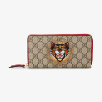 MONOGRAM WALLET WITH EMBROIDERED ANGRY CAT