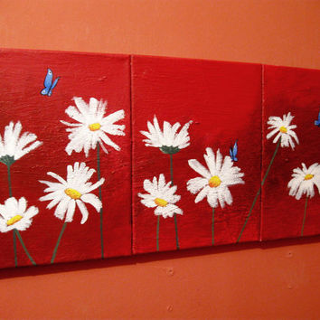 "landscape flower painting floral textured wall canvas art butterflies daisies mothers day impasto ""Butterfly Blues"" 48 x 20 """