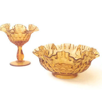 Vintage Fenton AMBER Colonial Thumbprint Ruffle Edge Bowl and Comport Dish, Set of two