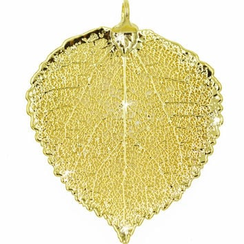 Real Leaf PENDANT ASPEN Dipped in 24K Yellow Gold Genuine Leaf