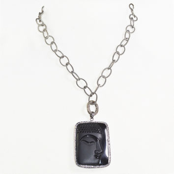 Obsidian Square Buddha on Sterling Silver Link Necklace