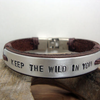 FREE SHIPPING - Mens Personalized Bracelet, Men's leather bracelet,  Brown leather and Aluminium Plate,Coordinate Personalized Bracelet