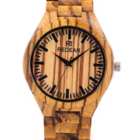 Vintage Zebra Wood Watch Men's Quartz Wristwatch Classic Folding Clasp Japan Movement Wrist Watch
