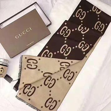 GUCCI Trending Women Men Stylish Double G Letter Cashmere Cape Scarf Shawl Scarves Accessories Coffee