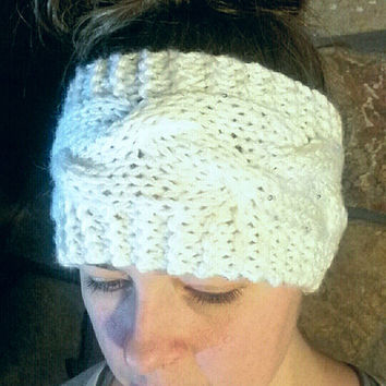 Knit Ear Warmer/ Headband, Off-White with a little Sparkle, Cable Braid Pattern, Warm and Cozy