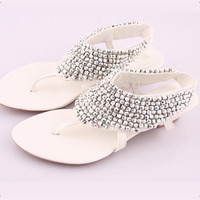 ROME Women Vintage Bead Kitten Heel Thongs Sandals 1jx