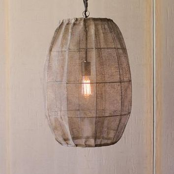 Oval Pendant Light With Fabric Shade
