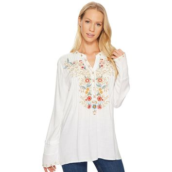 Button Tunic in Vintage White with Floral Embroidery by True Grit (Dylan)