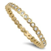 A Perfect 14K Yellow Gold 1.4TCW Russian Lab Diamond Wedding Band Stackable Ring