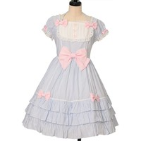 胸元切り替えストライプワンピース | Angelic Pretty | One Piece | w-29806 | Wunderwelt Online Shop - Gothic & Lolita Second-hand Clothing