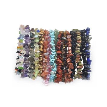 24pc Summer Natural Stone Bracelets Crystal Bracelet Bangles Quartz Gravel Crystal Beads Jewelry Bracelet Men and women gifts