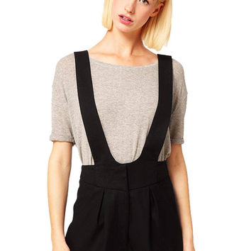 Black Cross Strap Back Dungarees Short