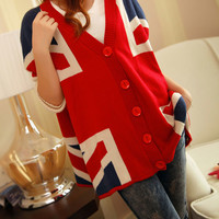 Leisure Union Jack Print Loose Fitting Batwing Sleeve Knit Sweater