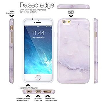 iPhone 6 Case, iPhone 6S Case, JAHOLAN White Jade Marble Design Slim Shockproof Flexible Smooth TPU Soft Case Rubber Silicone Skin Cover for Apple iPhone 6 6S