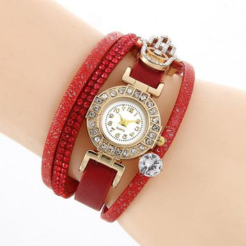 Fashion & Casual Watch Women Rhinestone Braided Leather Analog Quartz  Bangle Wrist Watch