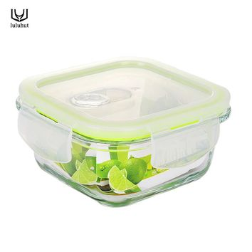 luluhut square Borosilicate Glass Food Container Lunch Box Bento lunch box fruit vegetable food Microwavable fresh preservation
