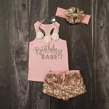 3Pcs Set Newborn Baby Girls Clothes Summer Sleeveless Pink Letter Cotton Top|+Sequin Pants+Headband Outfits Baby Clothes 12-18M