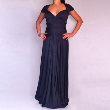 Dark Blue Infinity Convertible Multi Way Dress / Wrap Long Wedding Dress /Bridesmaid Dress Custom order to your size