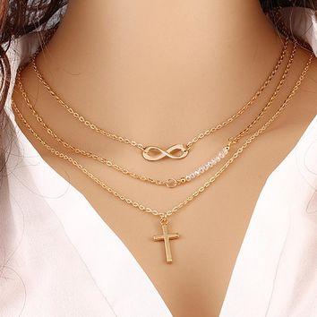 N110 Women's Fashion Jewelry Colar European Multi Layers Cross Infinity Beads Necklace Clavicle Chains Multilayer One Direction