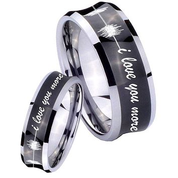His Her Black Concave Sound Wave i love you more more Two Tone Tungsten Wedding Rings Set