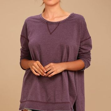 The Weekender Washed Plum Purple Sweatshirt