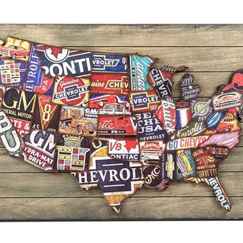 Faux Wood Plank Sign with Raised GM U S  Map | Shop Hobby Lobby