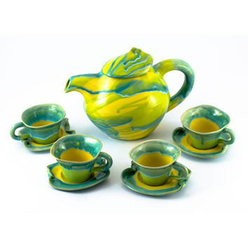 Set cups tea coffee ceramic stoneware pottery kettle teapot   - unique handmade created with love to enamel colours - four cups and kettle