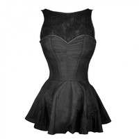 Black Dupion Peplum Corset with Lace Chest Piece