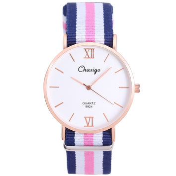 Chaxigo Brand Unisex Popular Elegant Simple Design Colorful Nylon Strap Watch Daniel Fashion Casual Style Quartz Wristwatch