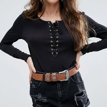 ASOS Studded Keeper Western Jeans Belt at asos.com