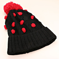 Pom Pom Polka Dot Knitted Black Beanie